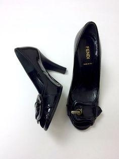 $550 Fendi 36.5 5/6 Black Patent Leather Peep Toe Pumps Spuntata Vernice Heels #FENDI #PumpsClassics
