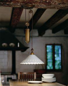Fiori di Pizzo - Italian Brass and Ceramic Ceiling Light by Il Fanale - Kitchen Pendant Light