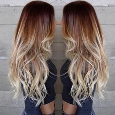 red roots, white tips ombre (looks more light blonde than white)