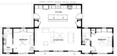 Simplicity--retirement home floor plan? A master BR and bath, a guest room, and an open living space. Looks good to me!