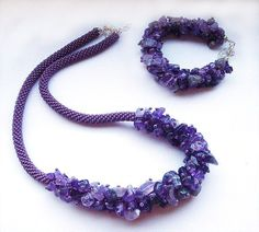 Beads crochet rope necklace with purple amethyst. $60.00, via Etsy.