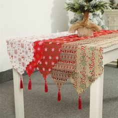 Decoration Linen Printed Table Flag Table Runner Printed Tassel Tablecloth Placemat Hotel Home Festival Decoration – Home & Garden Christmas Garden Decorations, Christmas Table Cloth, New Years Decorations, Festival Decorations, Merry Christmas, Christmas Wall Art, Christmas Home, Christmas Projects, Christmas Ornament