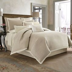 Wamsutta® Collection Luxury Italian-Made Salerno Duvet Cover Set in Linen/Ivory - BedBathandBeyond.com