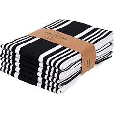 Urban Villa Kitchen Towels,Trendy Stripes, Cotton Dish Towels Mitered Corners, (Size: Inch), Black/White Highly Absorbent Bar Towels & Tea Towels - (Set of Dish Towels, Tea Towels, Black White Stripes, Black And White, Boho Kitchen, Linen Store, Mitered Corners, Fibres, Bar