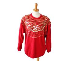 Ugly Christmas Red and Gold Bead Sequin Glam Sweater - Vintage 80s Victoria Harbour - Women Large by bluebutterflyvintage on Etsy