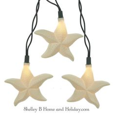 Starfish shapes on decorative light strand. Use on a Christmas tree or decorate a patio or bar.
