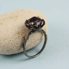 This would make a great engagement ring!  Black Rough Amethyst Ring gemstone ring raw stone