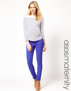love these blue pants!!  Had this color in non maternity, must have in maternity!