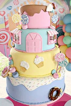 Take a look at the gorgeous birthday cake at this candy land party! See more party ideas and share yours at CatchMyParty.com