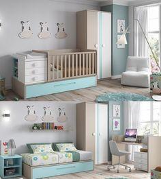 Le berceau NINO se transforme en chambre complète avec un lit pour enfant 90x190 cm, une table de nuit et un bureau