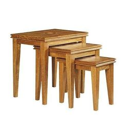 Malabar solid mango nest of tables, marble inlay