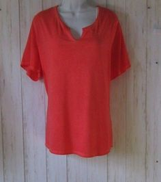 ef4b828300f76 Details about Womens Plus Size 2X Notch Neck Tee T-Shirt Coral Fire Terra   Sky  New Nwt