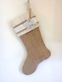 Burlap Christmas Stocking - Embellished with Silver Snowflake. $32.00, via Etsy.