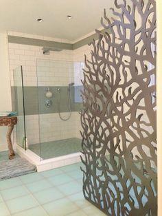 Custom Made Bathroom Custom Metal Privacy Screen And Mirror