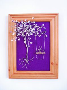 Wire Sculpture Tree In Frame / Wall Decor / Jewelry by wireforest, $69.00