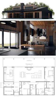 Small House Plan with three bedrooms, floor plan