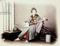 Lady with Musical Instrument (Shamisen). Felice Beato. Bakumatsu/ Meiji Period.