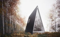 Designed by William O'Brien Jr., the assistant professor of Architecture in Cambridge, Massachusetts, this unusual vacation house plan is an A-frame house in the forest that stands out among the trees.