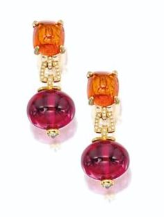 Pair of Rubellite, Spessarite Garnet and Diamond Earrings, Goshwara