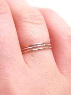 Tiny Rose Gold Skinny Ring by proteales on Etsy