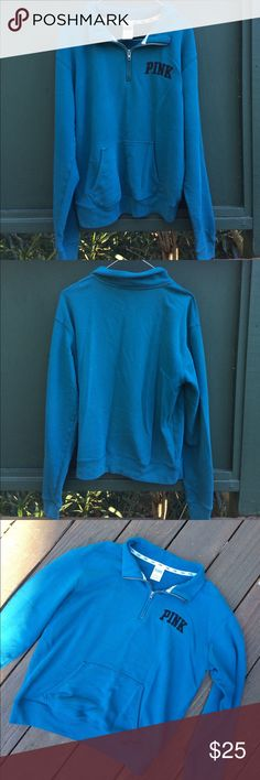 Teal Zipped Collar Pink Sweatshirt Teal colored sweatshirt from Victoria Secret PINK. Super cute 1/3 zip at the collar. Worn, but in perfect condition. In size Small and super comfortable. PINK Victoria's Secret Tops Sweatshirts & Hoodies