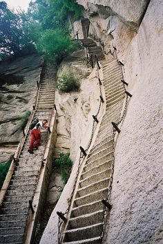 Mt Huashan China by globetrottingmatt, via Flickr and this isn't even the scary part...why,why do people climb this?!!