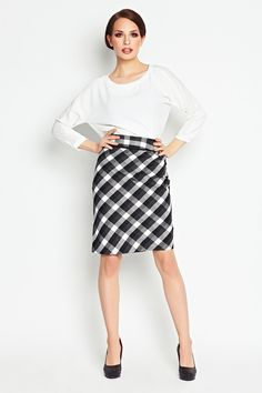 Elegant and comfortable checked midi skirts – a unique product by awama via en.DaWanda.com
