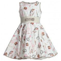 Monnalisa Ivory Pink Panther Cotton Dress at Childrensalon.com