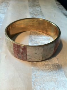 SUBTLY STUNNING Vintage Stone & Brass Cuff Bracelet by NorthCoastCottage, $42.00