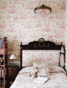 Understated pink toile, very soft, almost dreamy looking.