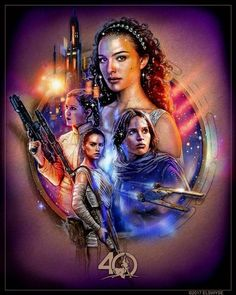 The women of Star Wars: Padme Amidala Jyn Erso Leia Organa and Rey - Star Wars Girls Ideas of Star Wars Girls - The women of Star Wars: Padme Amidala Jyn Erso Leia Organa and Rey Star Wars Film, Finn Star Wars, Star Wars Poster, Star Wars Padme, Rey Star Wars, Star Wars Fan Art, Star Trek, Star Wars Tattoo, Star Wars Quotes