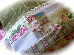 Such a little Darling. So English cottage chic. A decorative panel makes this dish towel something extra special. Created by Cath and one of a kind item.