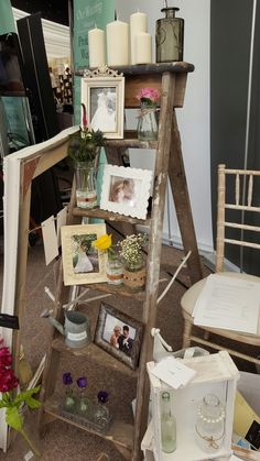 Vintage Step Ladder and Photo frames available to hire from www.secphotography.co.uk/sec-events