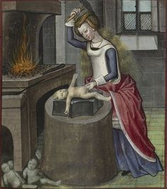 Nature forges a baby from British Library, Harley 4425 (Roman de la Rose), fol. 140, Bruges, Unknown author