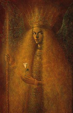 Angel Orozel by Hernan Valdovinos Illustrations, Illustration Art, The Magic Faraway Tree, Magic Realism, Angels Among Us, Yellow Art, Visionary Art, Angel Art, Art Studies