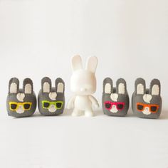 Soft toy bunny softie with sunglasses by trepuntozerocivette, €15.00
