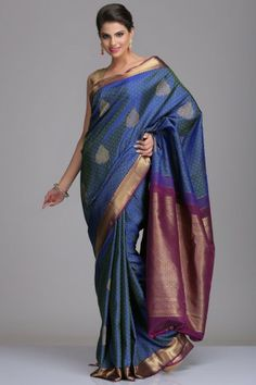 Royal Blue Kanjivaram Pure Silk Saree With Floral Motifs And Dark Berry Purple Border And Pallu With Real Zari