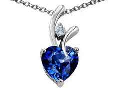 Original Star K(tm) Heart Shape 8mm Created Sapphire Pendant in .925 Sterling Silver
