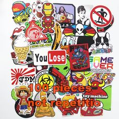 100 pcs Fashion cool DIY Stickers for Skateboard Laptop Luggage Snowboard Fridge Phone toy Styling home decor Stickers
