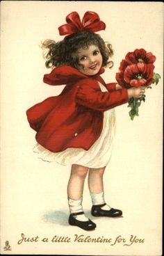 Valentine Tuck Modern Children Series 233 Little Girl Red Dress c1910 Postcard | eBay