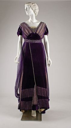 Dress, Evening.  House of Worth  (French, 1858–1956).  Date: ca. 1910.  Culture: French.  Medium: silk, cotton, metallic threads, glass. Dimensions: Length: 54 in. (137.2 cm).  The Metropolitan Museum of Art, NYC, USA.