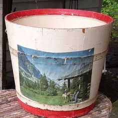 Best Vintage WOODEN BUCKET PAIL   paint by JunqueInTheTrunque, $42.00