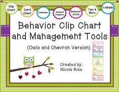 materials for Owls & Chevron Behavior Card Chart (including directions, Behavior Management Chart, Behavior Clip Charts, Classroom Management, Behavior Tracking, Management Tips, Owl Theme Classroom, School Classroom, Classroom Ideas, Classroom Rules