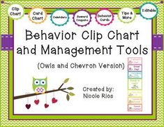 A tried and true way to help students, parents, and teachers keep track of behavior and choices. This download includes: 1) materials for Owls & Chevron Behavior Clip Chart (including directions, and editable files) 2) materials for Owls & Chevron Behavior Card Chart (including directions, and editable files) 3) behavior tracking tools 4) parent communication tools and 5) student incentives and management tools and tips. $