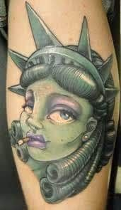 What does statue of liberty tattoo mean? We have statue of liberty tattoo ideas, designs, symbolism and we explain the meaning behind the tattoo. Statue Of Liberty Tattoo, Statue Tattoo, Tattoo Art, Woman Face, Tatting, Deviantart, Ink, Lady, Vintage