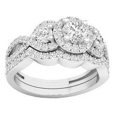 Elora 14k Gold 1 1/2ct TDW White Diamond 3 Stone Halo Split Shank Bridal Set