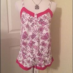Summer Top Pretty summer top from Fashion Bug. Hot Pink Floral print.  EUC Fashion Bug Tops Tank Tops