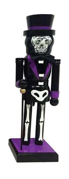 Santa's Workshop Bones Nutcracker with Cane brings fun to your holiday entertaining. Hand painted and hand crafted details. Halloween Crafts, Christmas Crafts, Swarovski, Santas Workshop, Nutcrackers, Slipcovers, Bones, Decorative Pillows, Hand Painted