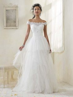 off the shoulder Wedding gown by Alfred Angelo