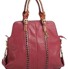 Big Buddha Darby Vegan Leather Burgundy Satchel.